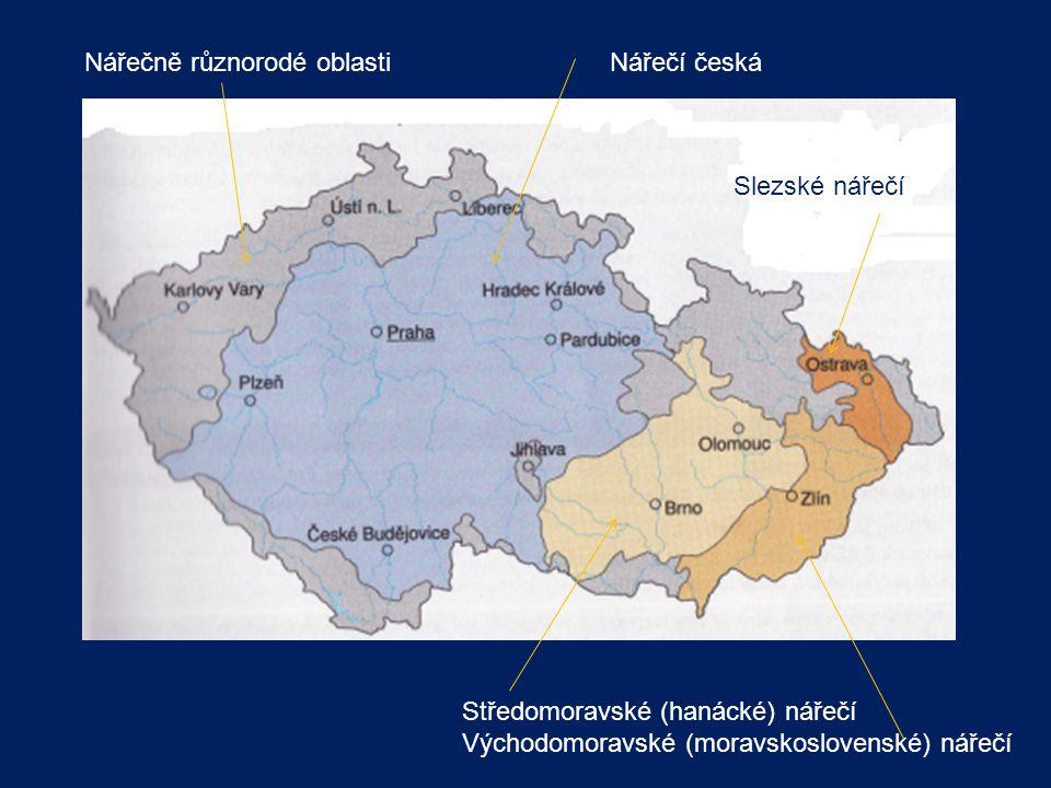Nářečí česká Středomoravské (hanácké) nářečí Východomoravské (moravskoslovenské) nářečí Slezské nářečí Nářečně různorodé oblasti
