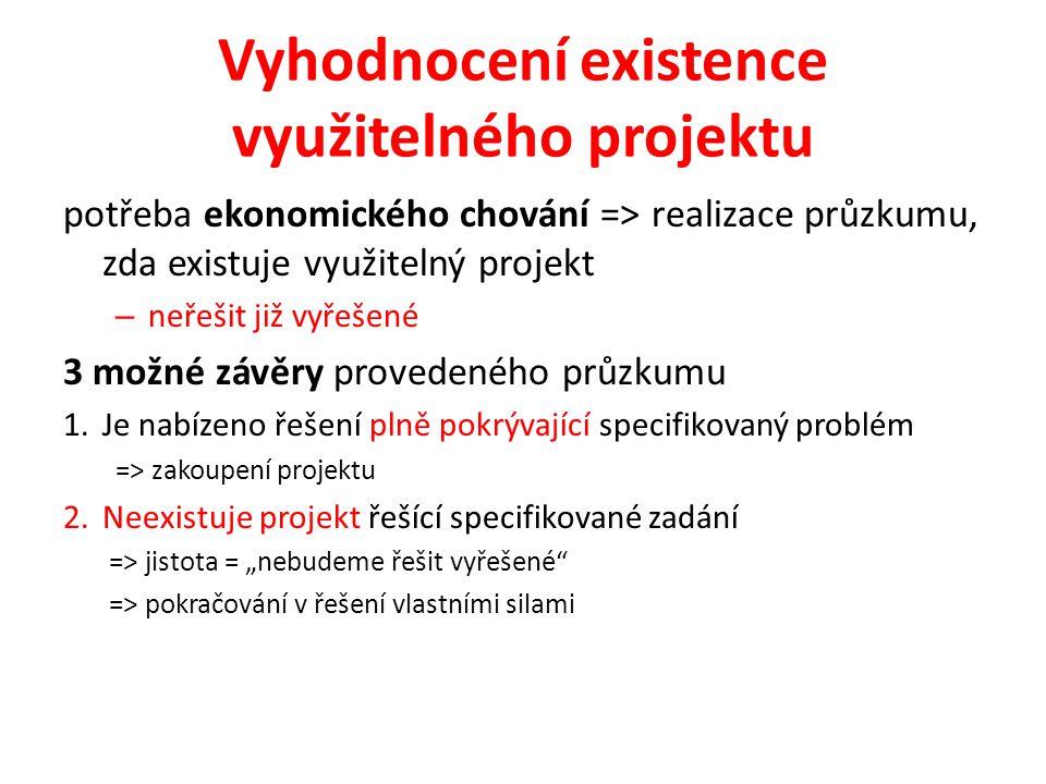 """Vyhodnocení existence využitelného projektu potřeba ekonomického chování => realizace průzkumu, zda existuje využitelný projekt – neřešit již vyřešené 3 možné závěry provedeného průzkumu 1.Je nabízeno řešení plně pokrývající specifikovaný problém => zakoupení projektu 2.Neexistuje projekt řešící specifikované zadání => jistota = """"nebudeme řešit vyřešené => pokračování v řešení vlastními silami"""