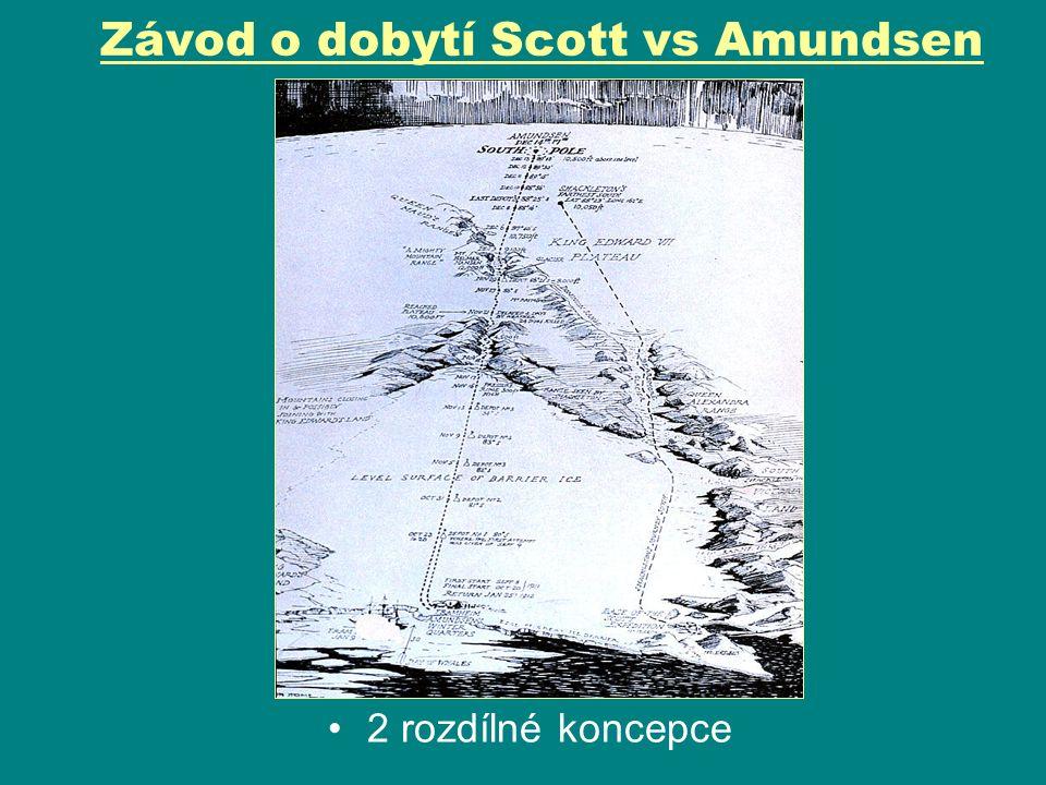 Závod o dobytí Scott vs Amundsen Scott – Vyplul z Anglie 6.8.1901 Motor.saně, sibiř.