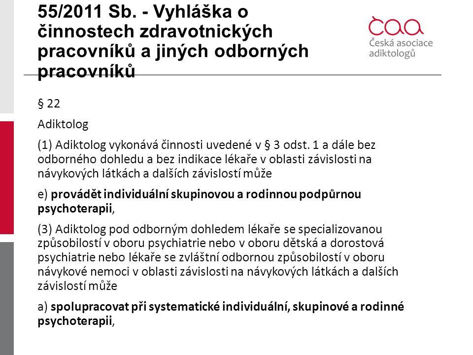 55/2011 Sb. - Vyhláška o činnostech zdravotnických pracovníků a jiných odborných pracovníků § 22 Adiktolog (1) Adiktolog vykonává činnosti uvedené v §