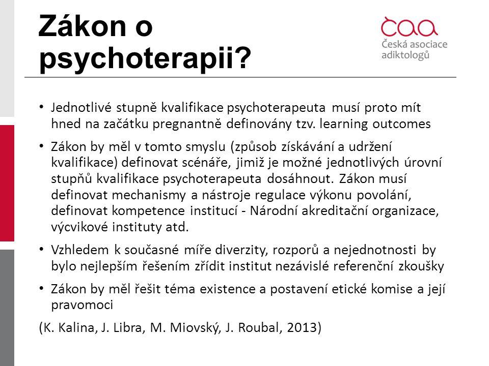 Zákon o psychoterapii? Jednotlivé stupně kvalifikace psychoterapeuta musí proto mít hned na začátku pregnantně definovány tzv. learning outcomes Zákon