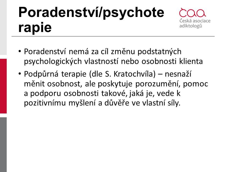 Poradenství/psychote rapie Poradenství nemá za cíl změnu podstatných psychologických vlastností nebo osobnosti klienta Podpůrná terapie (dle S. Kratoc