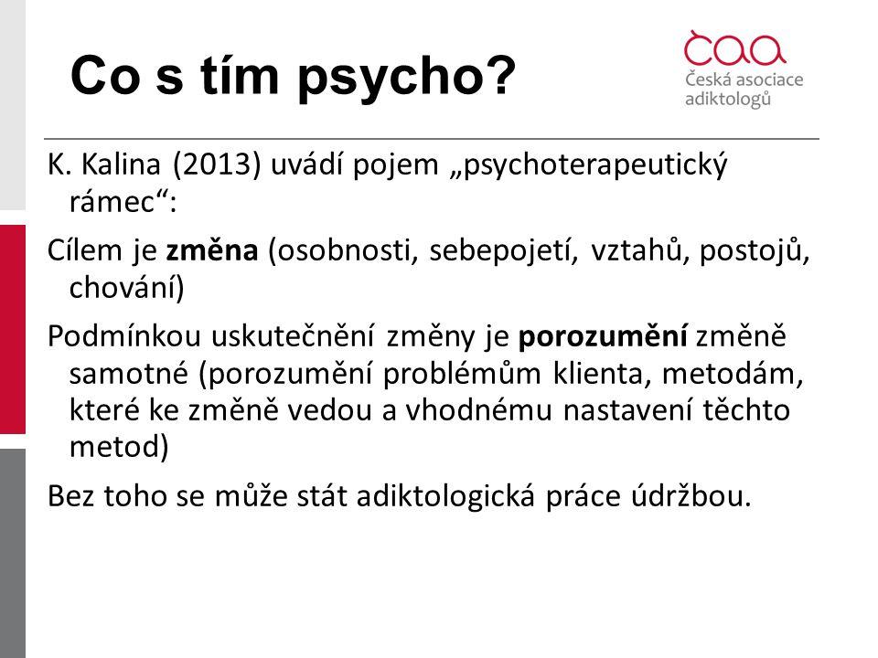 """Co s tím psycho? K. Kalina (2013) uvádí pojem """"psychoterapeutický rámec"""": Cílem je změna (osobnosti, sebepojetí, vztahů, postojů, chování) Podmínkou u"""