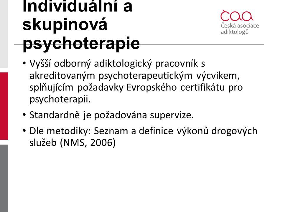 Individuální a skupinová psychoterapie Vyšší odborný adiktologický pracovník s akreditovaným psychoterapeutickým výcvikem, splňujícím požadavky Evrops