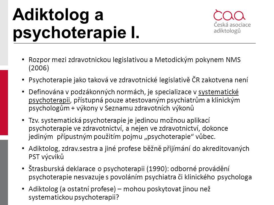 Adiktolog a psychoterapie I. Rozpor mezi zdravotnickou legislativou a Metodickým pokynem NMS (2006) Psychoterapie jako taková ve zdravotnické legislat