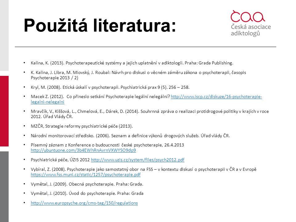 Použitá literatura: Kalina, K. (2013). Psychoterapeutické systémy a jejich uplatnění v adiktologii. Praha: Grada Publishing. K. Kalina, J. Libra, M. M