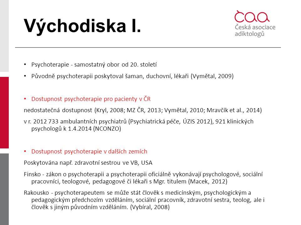 Východiska I. Psychoterapie - samostatný obor od 20. století Původně psychoterapii poskytoval šaman, duchovní, lékaři (Vymětal, 2009) Dostupnost psych