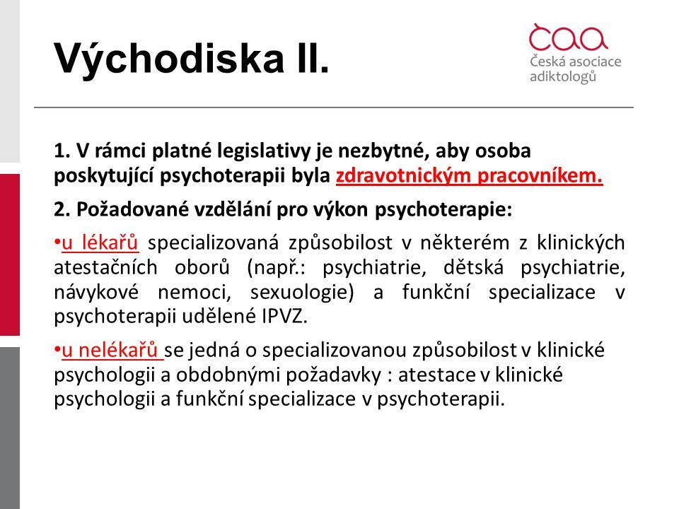Východiska II. 1. V rámci platné legislativy je nezbytné, aby osoba poskytující psychoterapii byla zdravotnickým pracovníkem. 2. Požadované vzdělání p