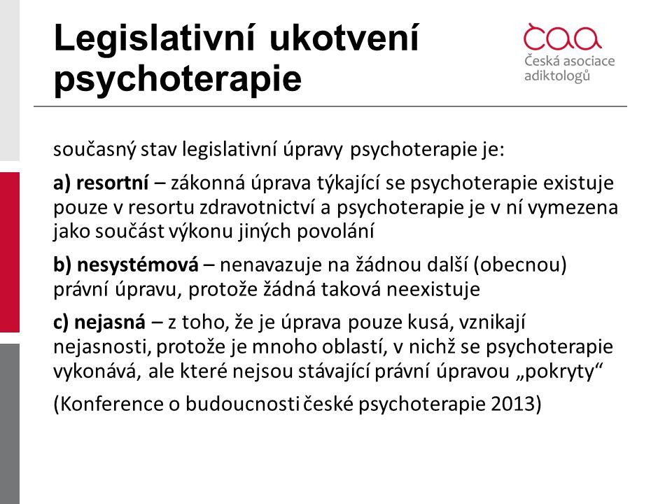 Legislativní ukotvení psychoterapie současný stav legislativní úpravy psychoterapie je: a) resortní – zákonná úprava týkající se psychoterapie existuj