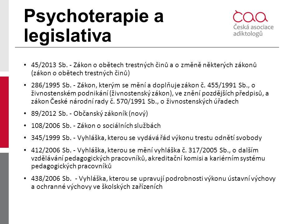 Psychoterapie a legislativa 45/2013 Sb. - Zákon o obětech trestných činů a o změně některých zákonů (zákon o obětech trestných činů) 286/1995 Sb. - Zá