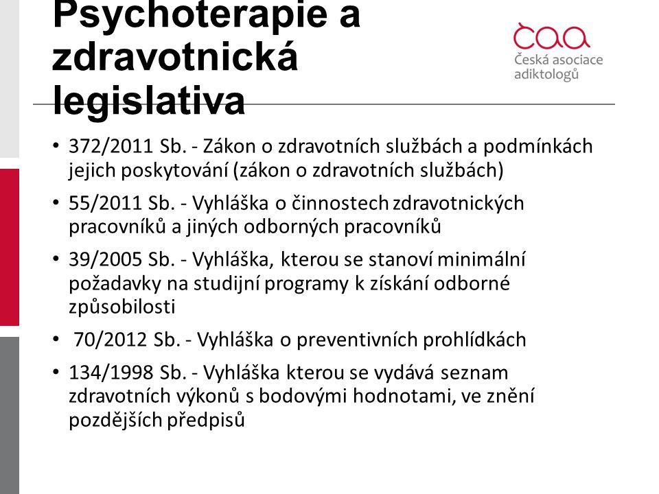 Psychoterapie a zdravotnická legislativa 372/2011 Sb. - Zákon o zdravotních službách a podmínkách jejich poskytování (zákon o zdravotních službách) 55