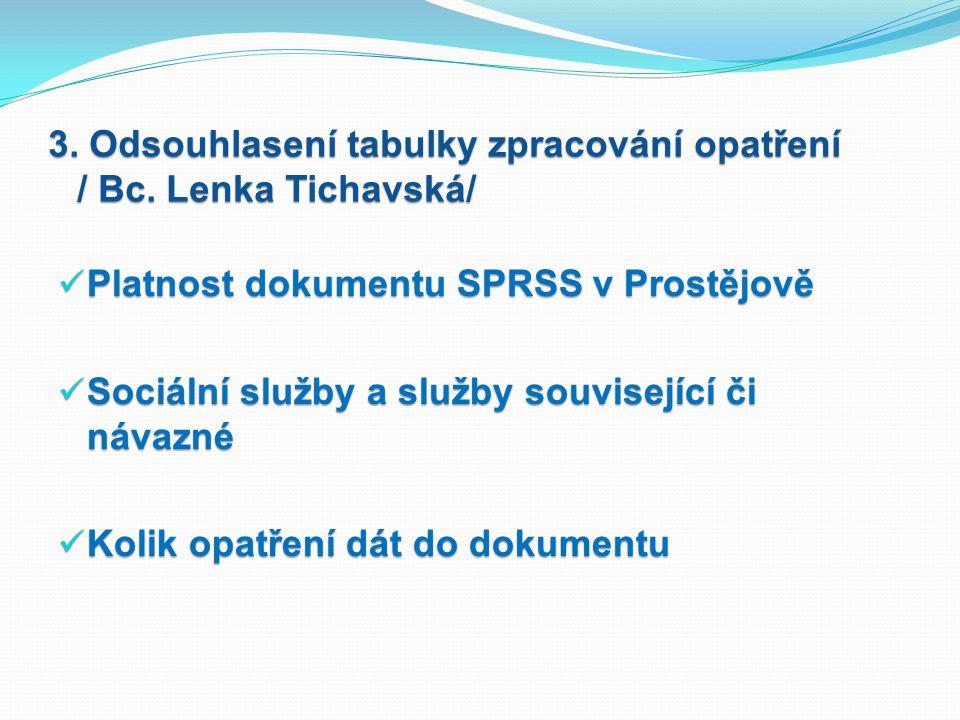 3.Odsouhlasení tabulky zpracování opatření / Bc.