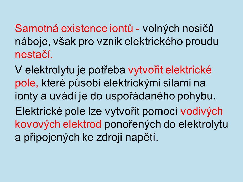 Samotná existence iontů - volných nosičů náboje, však pro vznik elektrického proudu nestačí.