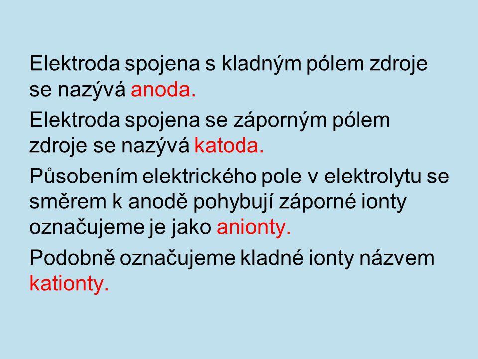 Elektroda spojena s kladným pólem zdroje se nazývá anoda.