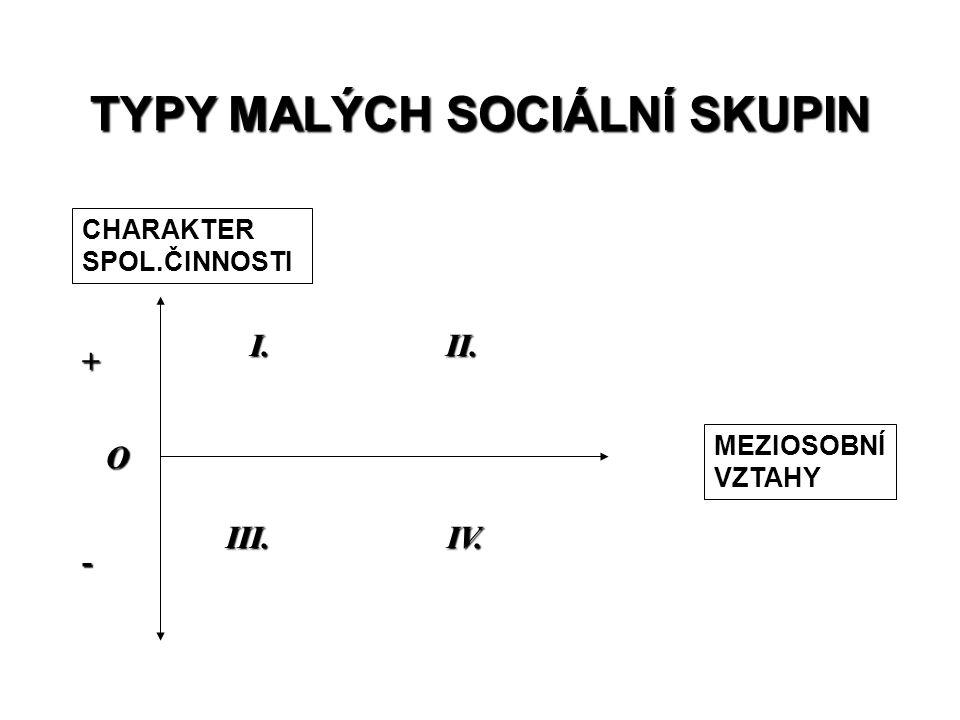 TYPY MALÝCH SOCIÁLNÍ SKUPIN CHARAKTER SPOL.ČINNOSTI MEZIOSOBNÍ VZTAHY I. II. I. II. III. IV. III. IV. + - O