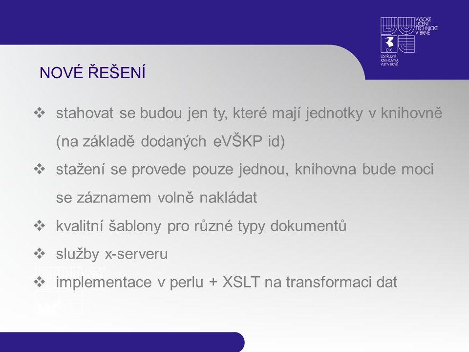 NOVÉ ŘEŠENÍ  stahovat se budou jen ty, které mají jednotky v knihovně (na základě dodaných eVŠKP id)  stažení se provede pouze jednou, knihovna bude moci se záznamem volně nakládat  kvalitní šablony pro různé typy dokumentů  služby x-serveru  implementace v perlu + XSLT na transformaci dat