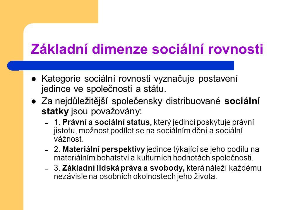 Základní dimenze sociální rovnosti Kategorie sociální rovnosti vyznačuje postavení jedince ve společnosti a státu. Za nejdůležitější společensky distr