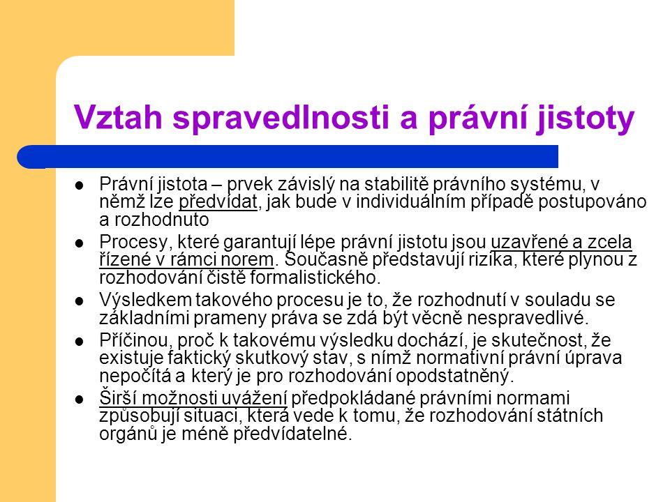 Vztah spravedlnosti a právní jistoty Právní jistota – prvek závislý na stabilitě právního systému, v němž lze předvídat, jak bude v individuálním příp