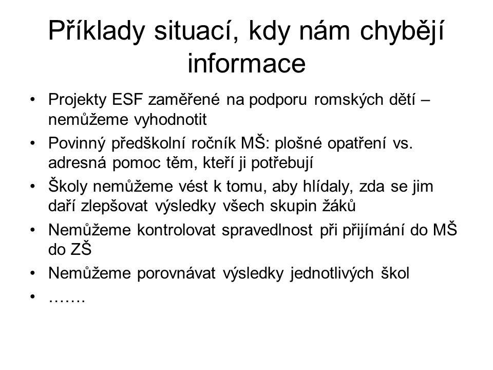 Příklady situací, kdy nám chybějí informace Projekty ESF zaměřené na podporu romských dětí – nemůžeme vyhodnotit Povinný předškolní ročník MŠ: plošné opatření vs.