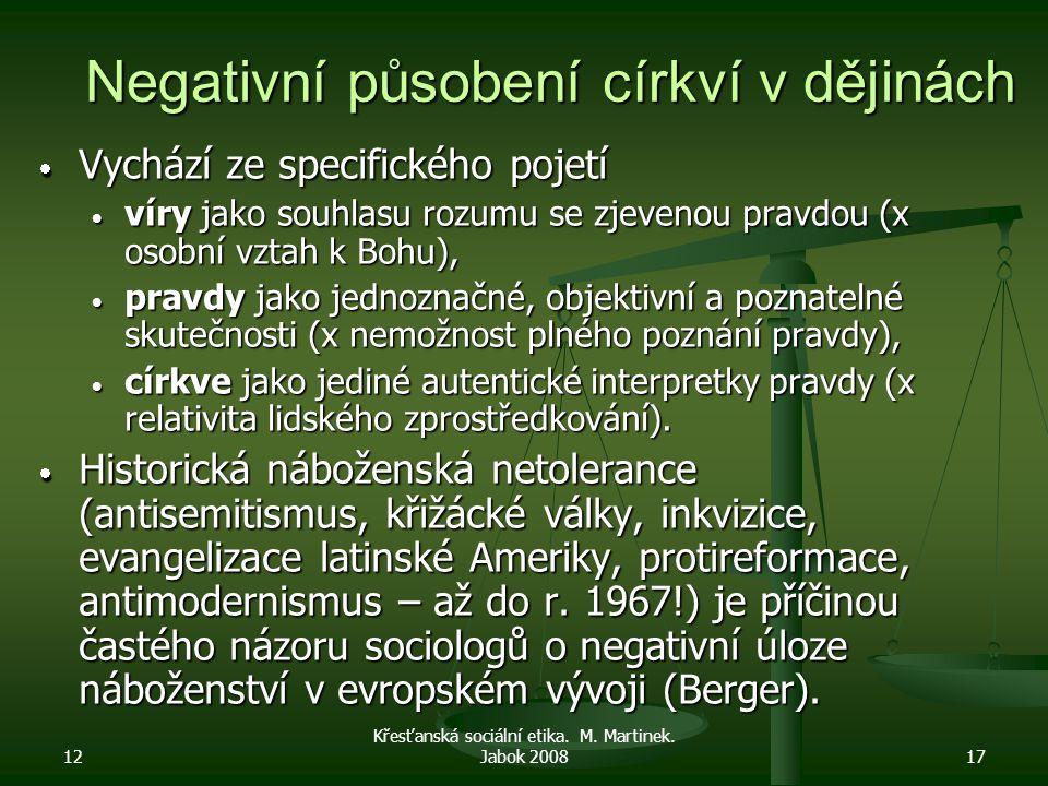 12 Křesťanská sociální etika. M. Martinek. Jabok 200817 Negativní působení církví v dějinách  Vychází ze specifického pojetí  víry jako souhlasu roz