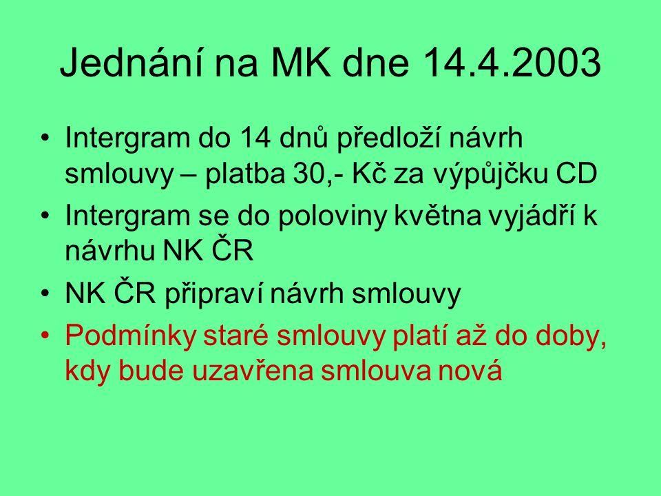 Jednání na MK dne 14.4.2003 Intergram do 14 dnů předloží návrh smlouvy – platba 30,- Kč za výpůjčku CD Intergram se do poloviny května vyjádří k návrhu NK ČR NK ČR připraví návrh smlouvy Podmínky staré smlouvy platí až do doby, kdy bude uzavřena smlouva nová