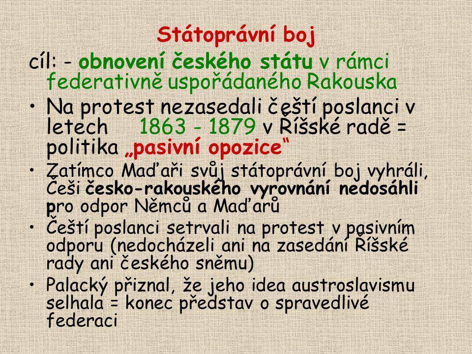 Státoprávní boj cíl: - obnovení českého státu v rámci federativně uspořádaného Rakouska Na protest nezasedali čeští poslanci v letech 1863 - 1879 v Ří