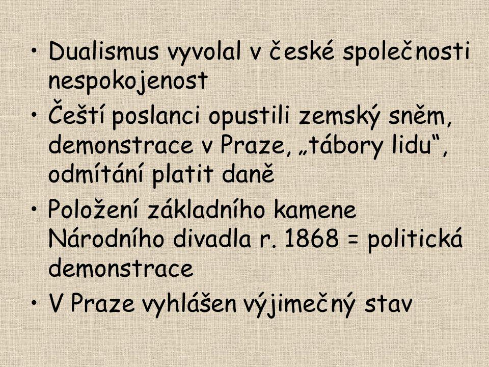 """Dualismus vyvolal v české společnosti nespokojenost Čeští poslanci opustili zemský sněm, demonstrace v Praze, """"tábory lidu"""", odmítání platit daně Polo"""