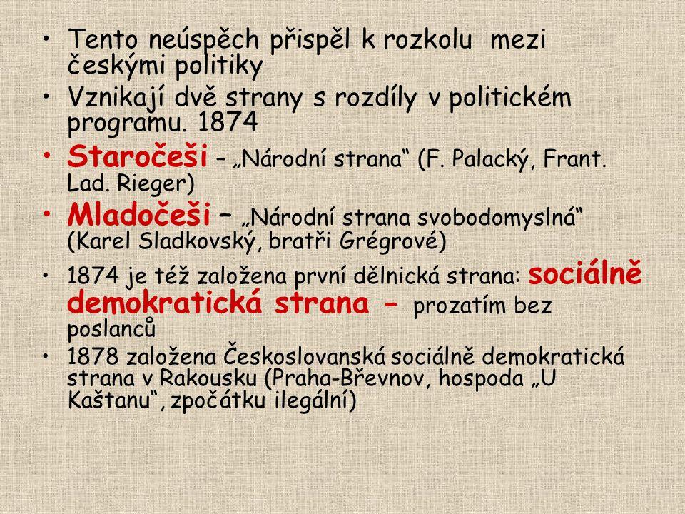 """Tento neúspěch přispěl k rozkolu mezi českými politiky Vznikají dvě strany s rozdíly v politickém programu. 1874 Staročeši – """"Národní strana"""" (F. Pala"""