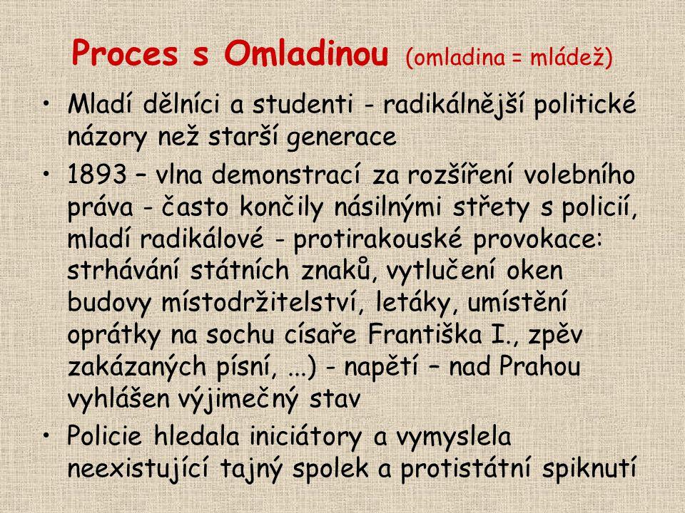 Proces s Omladinou (omladina = mládež) Mladí dělníci a studenti - radikálnější politické názory než starší generace 1893 – vlna demonstrací za rozšíře