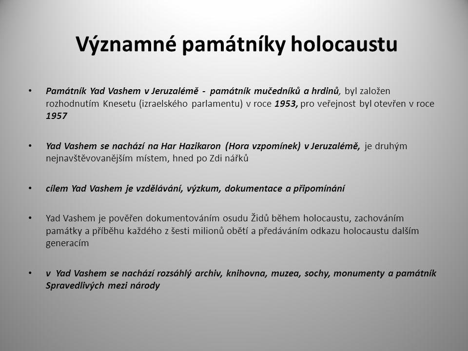 Úkoly pro studenty 1.Kde byste hledali Památník Yad Vashem .