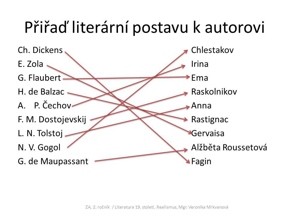 Přiřaď literární postavu k autorovi Ch. DickensChlestakov E. ZolaIrina G. FlaubertEma H. de BalzacRaskolnikov A.P. ČechovAnna F. M. DostojevskijRastig