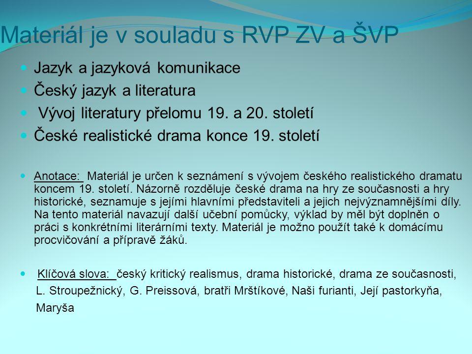 Materiál je v souladu s RVP ZV a ŠVP Jazyk a jazyková komunikace Český jazyk a literatura Vývoj literatury přelomu 19. a 20. století České realistické