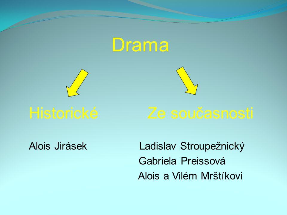 Drama Historické Ze současnosti Alois Jirásek Ladislav Stroupežnický Gabriela Preissová Alois a Vilém Mrštíkovi
