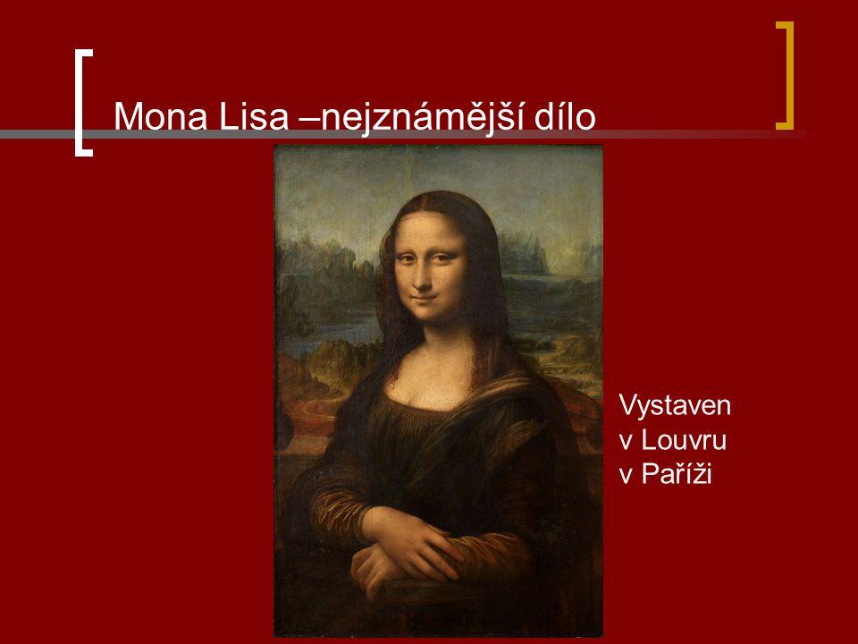 Mona Lisa –nejznámější dílo Vystaven v Louvru v Paříži