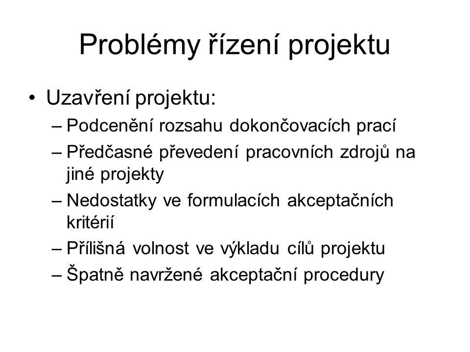 Problémy řízení projektu Uzavření projektu: –Podcenění rozsahu dokončovacích prací –Předčasné převedení pracovních zdrojů na jiné projekty –Nedostatky