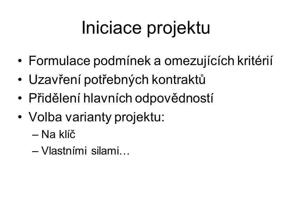 Iniciace projektu Formulace podmínek a omezujících kritérií Uzavření potřebných kontraktů Přidělení hlavních odpovědností Volba varianty projektu: –Na klíč –Vlastními silami…