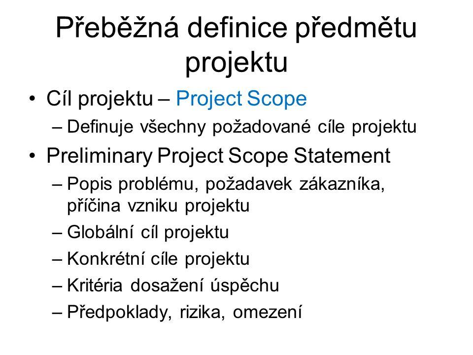 Přeběžná definice předmětu projektu Cíl projektu – Project Scope –Definuje všechny požadované cíle projektu Preliminary Project Scope Statement –Popis problému, požadavek zákazníka, příčina vzniku projektu –Globální cíl projektu –Konkrétní cíle projektu –Kritéria dosažení úspěchu –Předpoklady, rizika, omezení