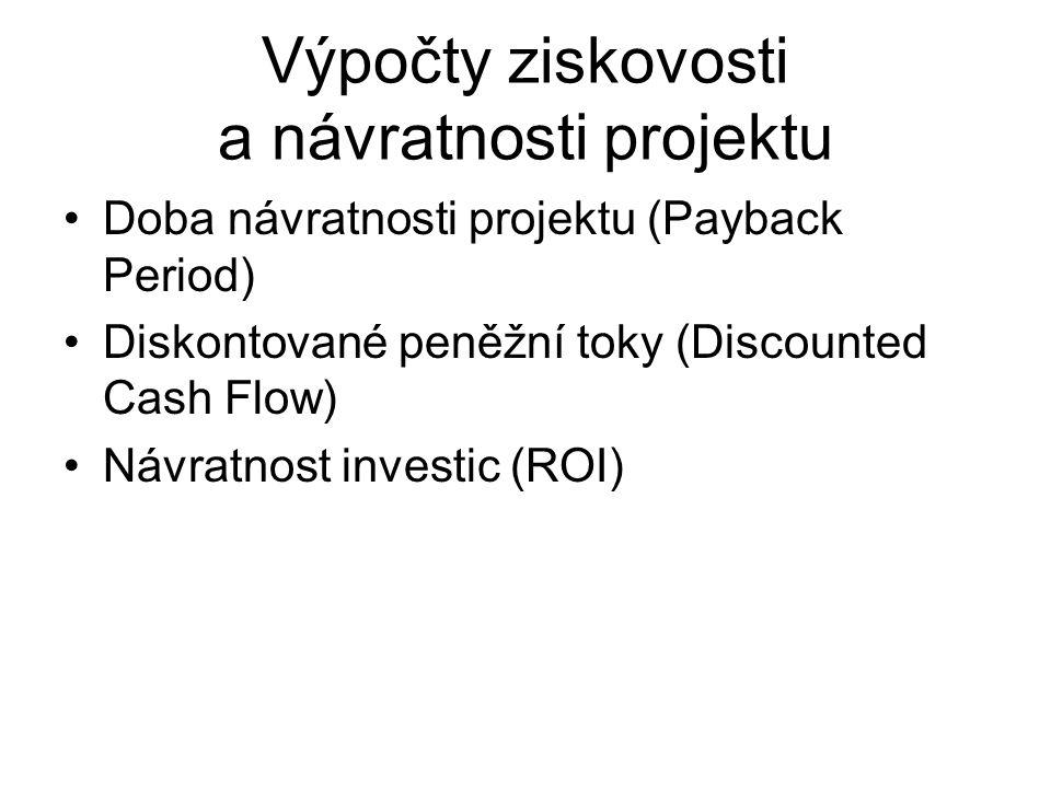 Výpočty ziskovosti a návratnosti projektu Doba návratnosti projektu (Payback Period) Diskontované peněžní toky (Discounted Cash Flow) Návratnost investic (ROI)