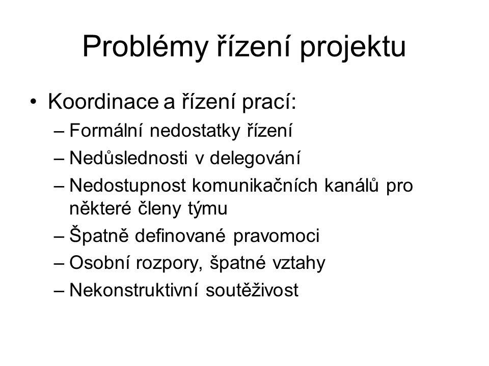 Problémy řízení projektu Koordinace a řízení prací: –Formální nedostatky řízení –Nedůslednosti v delegování –Nedostupnost komunikačních kanálů pro něk