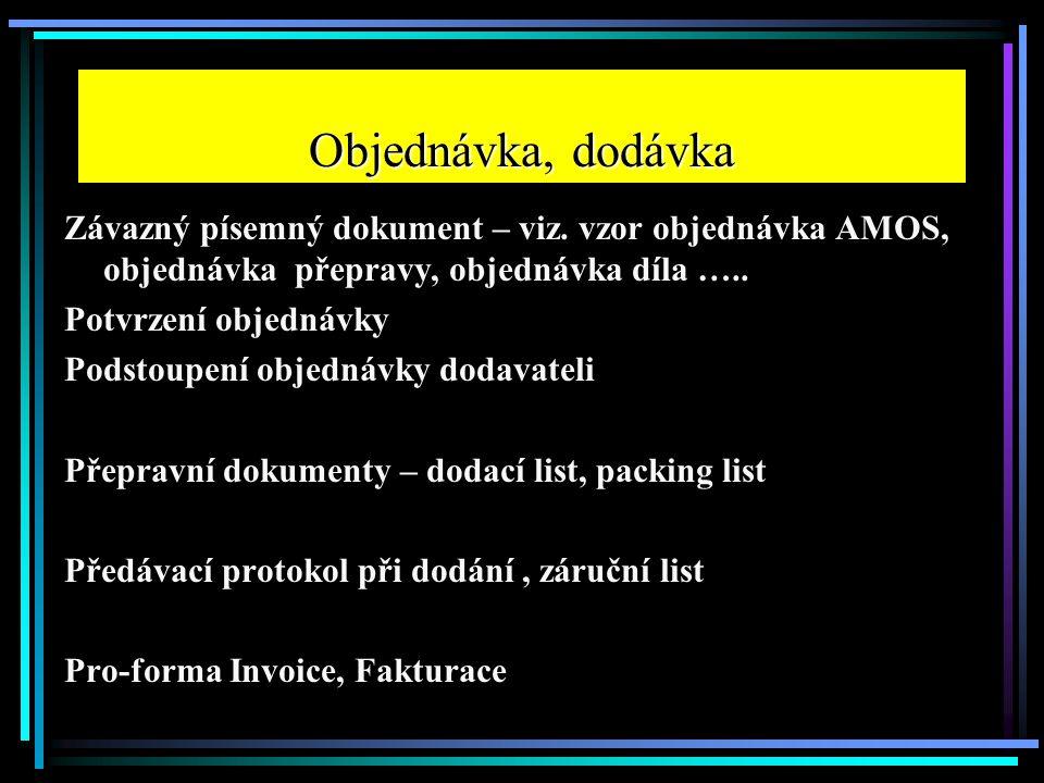 Objednávka, dodávka Závazný písemný dokument – viz. vzor objednávka AMOS, objednávka přepravy, objednávka díla ….. Potvrzení objednávky Podstoupení ob