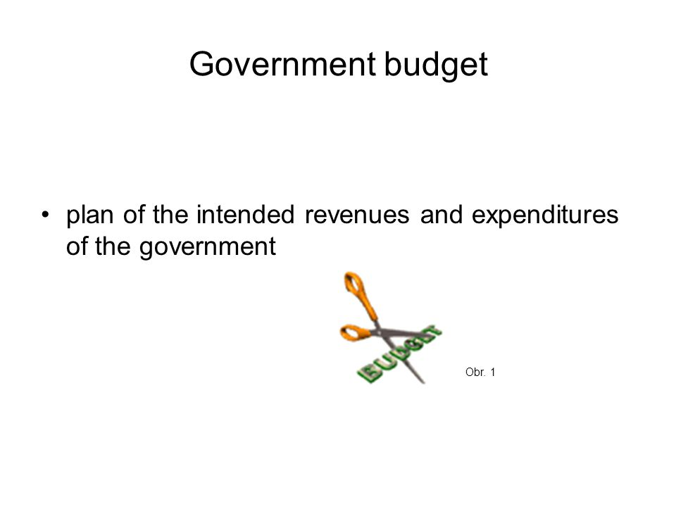 Government budget plan of the intended revenues and expenditures of the government Obr. 1
