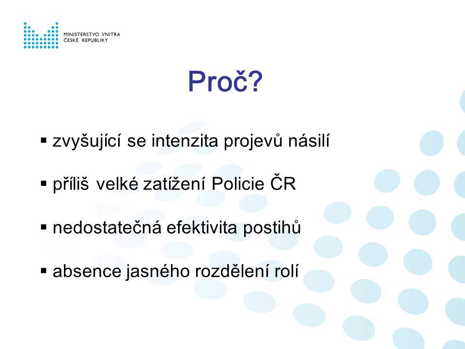 Proč?  zvyšující se intenzita projevů násilí  příliš velké zatížení Policie ČR  nedostatečná efektivita postihů  absence jasného rozdělení rolí