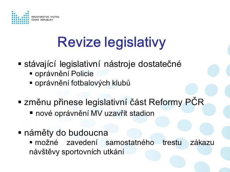 Revize legislativy  stávající legislativní nástroje dostatečné  oprávnění Policie  oprávnění fotbalových klubů  změnu přinese legislativní část Re