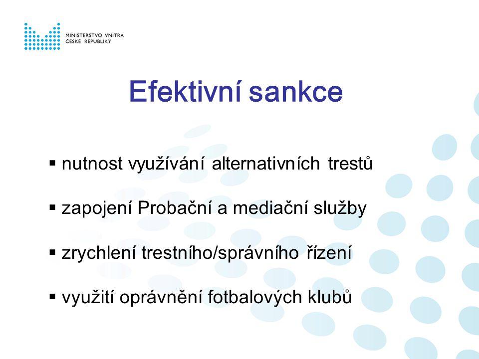 Efektivní sankce  nutnost využívání alternativních trestů  zapojení Probační a mediační služby  zrychlení trestního/správního řízení  využití oprá