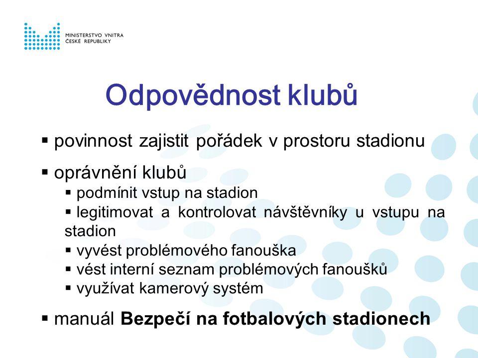 Odpovědnost klubů  povinnost zajistit pořádek v prostoru stadionu  oprávnění klubů  podmínit vstup na stadion  legitimovat a kontrolovat návštěvníky u vstupu na stadion  vyvést problémového fanouška  vést interní seznam problémových fanoušků  využívat kamerový systém  manuál Bezpečí na fotbalových stadionech