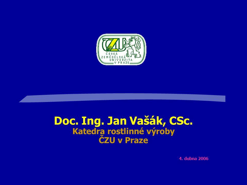 Doc. Ing. Jan Vašák, CSc. Katedra rostlinné výroby ČZU v Praze 4. dubna 2006