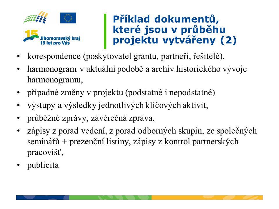 Příklad dokumentů, které jsou v průběhu projektu vytvářeny (2) korespondence (poskytovatel grantu, partneři, řešitelé), harmonogram v aktuální podobě