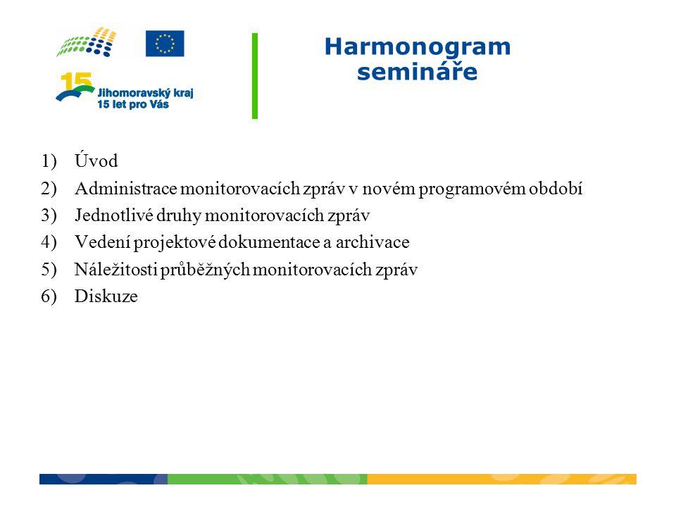 Harmonogram semináře 1)Úvod 2)Administrace monitorovacích zpráv v novém programovém období 3)Jednotlivé druhy monitorovacích zpráv 4)Vedení projektové