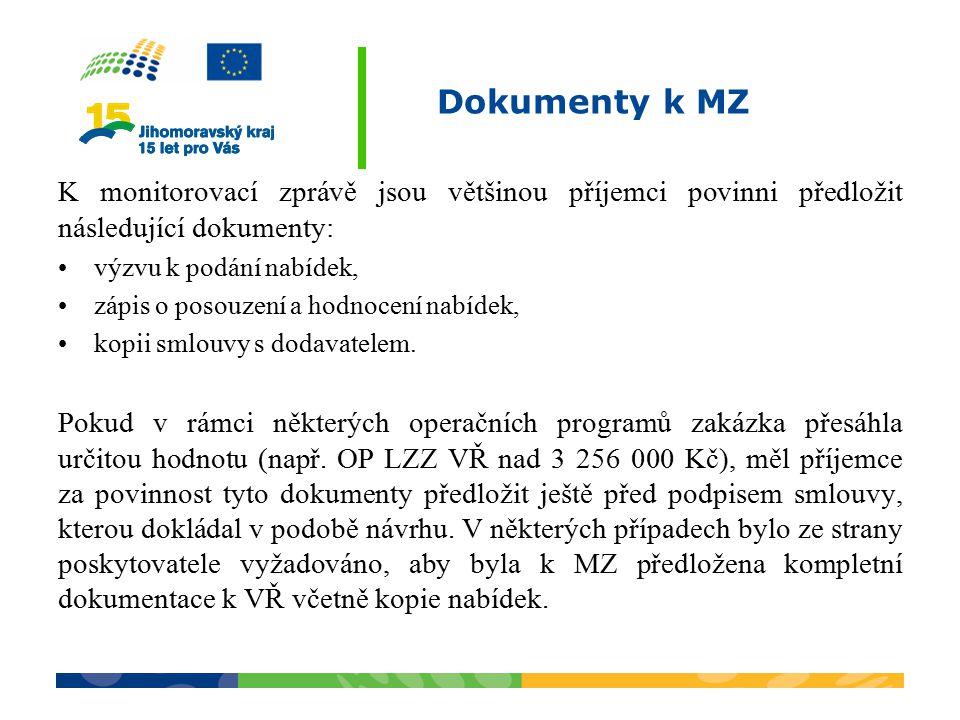 Dokumenty k MZ K monitorovací zprávě jsou většinou příjemci povinni předložit následující dokumenty: výzvu k podání nabídek, zápis o posouzení a hodno