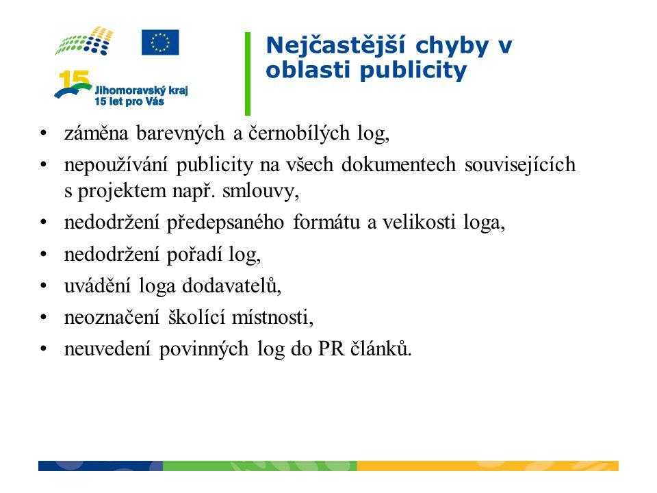 Nejčastější chyby v oblasti publicity záměna barevných a černobílých log, nepoužívání publicity na všech dokumentech souvisejících s projektem např. s